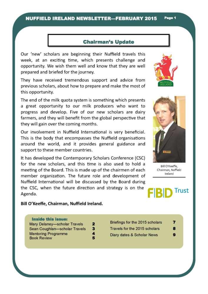 Nuffield Ireland Newsletter Feb 2015